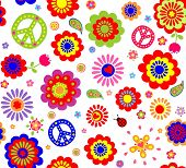 stock photo of hippy  - Hippie wallpaper with abstract flowers - JPG