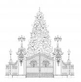 Christmas tree in front of Buckingham palace gate London, sketch collection