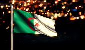 Algeria National Flag City Light Night Bokeh Background 3D