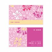 Vector pink abstract triangles horizontal stripe frame pattern business cards set