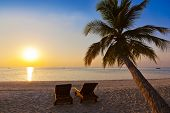 Chairs on Maldives beach - nature vacation background