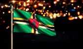 Dominica National Flag City Light Night Bokeh Background 3D