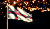 stock photo of faroe islands  - Faroe Islands National Flag City Light Night Bokeh Background 3D - JPG