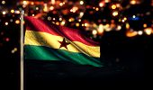 Ghana National Flag City Light Night Bokeh Background 3D