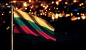Lithuania National Flag City Light Night Bokeh Background 3D
