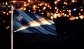 Marshall Islands National Flag City Light Night Bokeh Background 3D