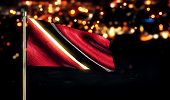 Trinidad And Tobago National Flag City Light Night Bokeh Background 3D