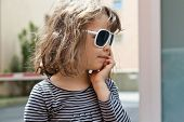 portrait of girl with sunglasses, external