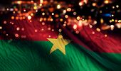 Burkina Faso National Flag Light Night Bokeh Abstract Background
