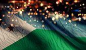 Djibouti National Flag Light Night Bokeh Abstract Background