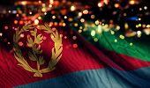 Eritrea National Flag Light Night Bokeh Abstract Background