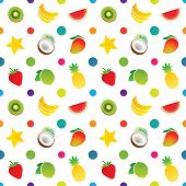 Fruit icons pattern with bananas, carambola, coconut, kiwi, lime, mango, pineapple, strawberry, watermelon. Vector illustration.