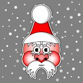 Santa Claus With Ski Cap And Red Cheeks