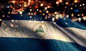 Nicaragua National Flag Light Night Bokeh Abstract Background