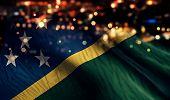Solomon Islands National Flag Light Night Bokeh Abstract Background