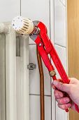 picture of pipe wrench  - an small repair to the radiator with a pipe wrench