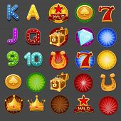 Symbols for slots game. Vector illustration