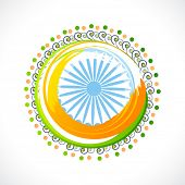stock photo of indian independence day  - Beautiful creative rangoli with national flag colors and ashoka wheel for Indian Republic Day and Independence Day celebration - JPG