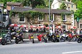 Bikers at pub, Matlock Bath.