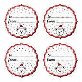 Polar bears in Santa Claus hats Christmas with vintage frame and gift text in English sticker set