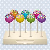 foto of cake pop  - Tasty delicacy Cake Pops on a stand Vector Illustrations Set - JPG