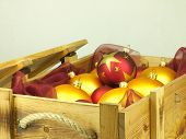 Christmas Balls In A Wooden Box.