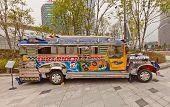 Fancy Bus Jeepney In Ddp Of Seoul, Korea