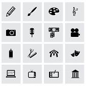 Vector black art icons set