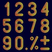 The numbers of bands on a black background.