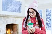 Girl Enjoy Hot Drink At Home