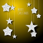 Vector white paper christmas stars on a golden background