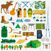 foto of trailer park  - Set camping icon hiking outdoors - JPG