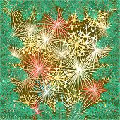 New Year fireworks and spruce branch vector