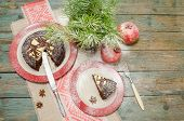 image of desert christmas  - Still life with chocolate cake Christmas tree and pomegranate - JPG