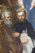 ZAGREB, CROATIA - DECEMBER 12: Jacopo Tintoretto: Saint Peter and Saint Dominic exhibited at the Great Masters Renaissance in Croatia, opened December 12, 2011. in Zagreb, Croatia