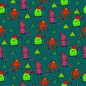 happy new year monsters seamless pattern