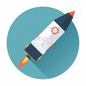 Space Rocket Ship. Start Up Concept Symbol. Flat Style With Long Shadows. Modern Trendy Design. Vect
