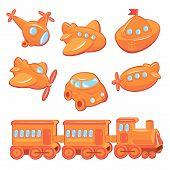 Set Of Boys Toys - Transport Cartoons - Train, Car, Plane, Ship, Helicopter, Submarine