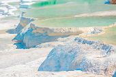 Pamukkale Travertine Filled With Water In Turkey