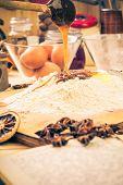 Preparing Christmas Gingerbread Dough Ingredients Recipe Kitchen Table Egg Flour
