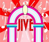 image of jive  - A jukebox depiction with the text jive and music notation as a background - JPG