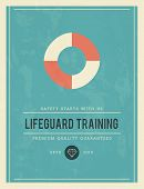 picture of lifeguard  - vintage poster for lifeguard training vector illustration - JPG