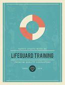 stock photo of lifeguard  - vintage poster for lifeguard training vector illustration - JPG