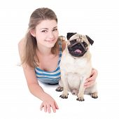 foto of pug  - young beautiful woman with pug dog isolated on white background - JPG