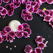 stock photo of geranium  - beautiful spa background of geranium flower beads and candle in reflection water closeup - JPG