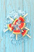 foto of popsicle  - watermelon popsicle yummy fresh summer fruit sweet dessert on vintage old wood teak blue - JPG