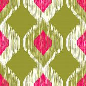 stock photo of khakis  - Seamless ikat pattern in pink and khaki colors - JPG