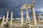 stock photo of akropolis  - Temple of Trajan in the ancient city of Pergamon Bergama Turkey - JPG