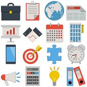 pic of calculator  - Sixteen flat icons of business - JPG