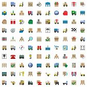 foto of forklift  - One hundred shipping icons including truck - JPG